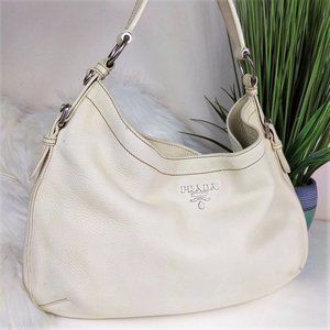 Prada Cream Vitello Daino Leather Shoulder Bag